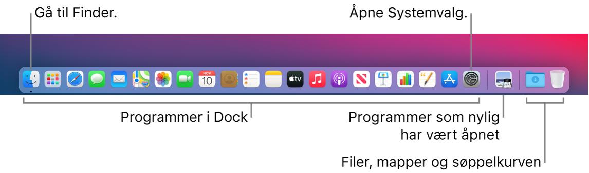 Dock, som viser Finder, Systemvalg og linjen i Dock som skiller programmer fra filer og mapper.