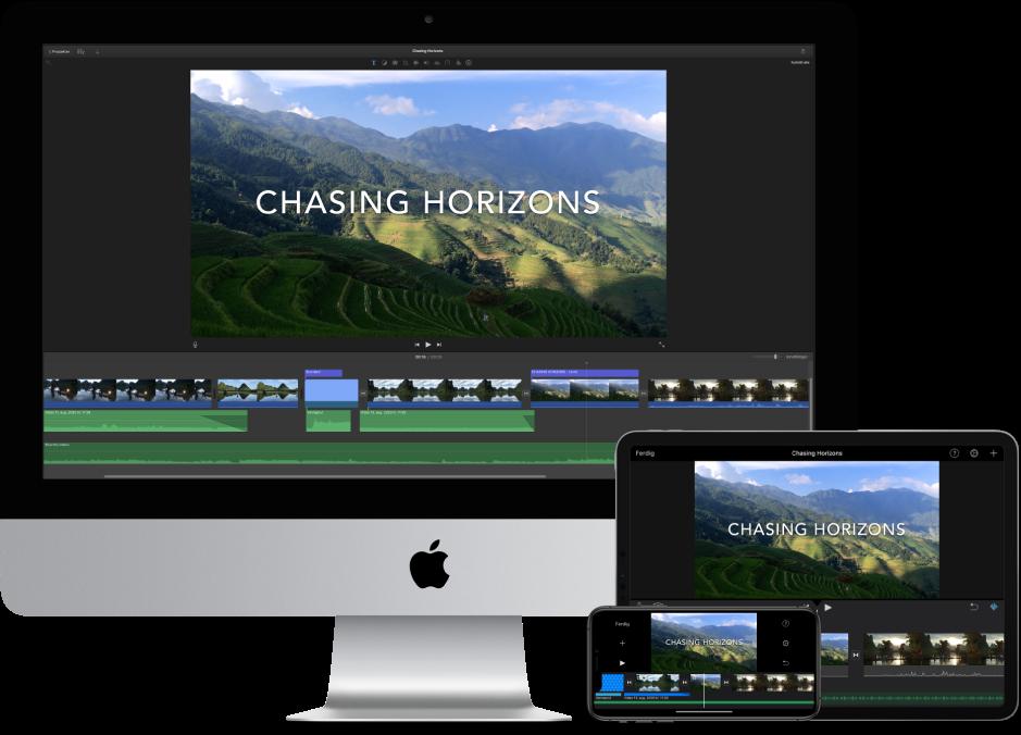 Identisk innhold vises på en iMac, en iPad og en iPhone.