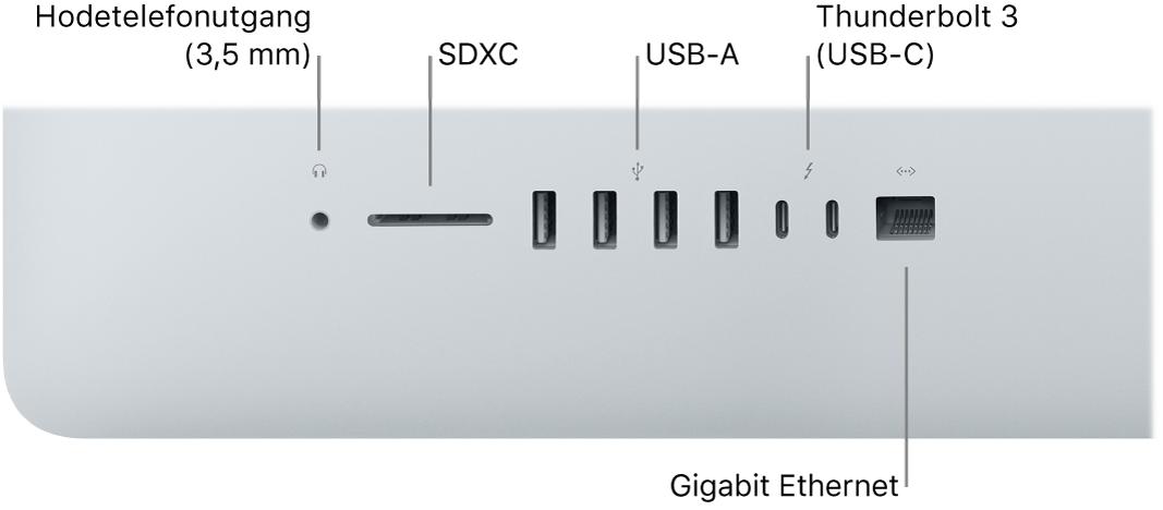 En iMac der du kan se hodetelefonutgangen på 3,5 mm, SDXC-plassen, USB-A-porter, Thunderbolt3-porter (USB-C) og Gigabit Ethernet-porten.