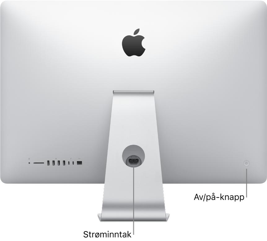 Baksiden av iMac som viser strømkabelen og av/på-knappen.