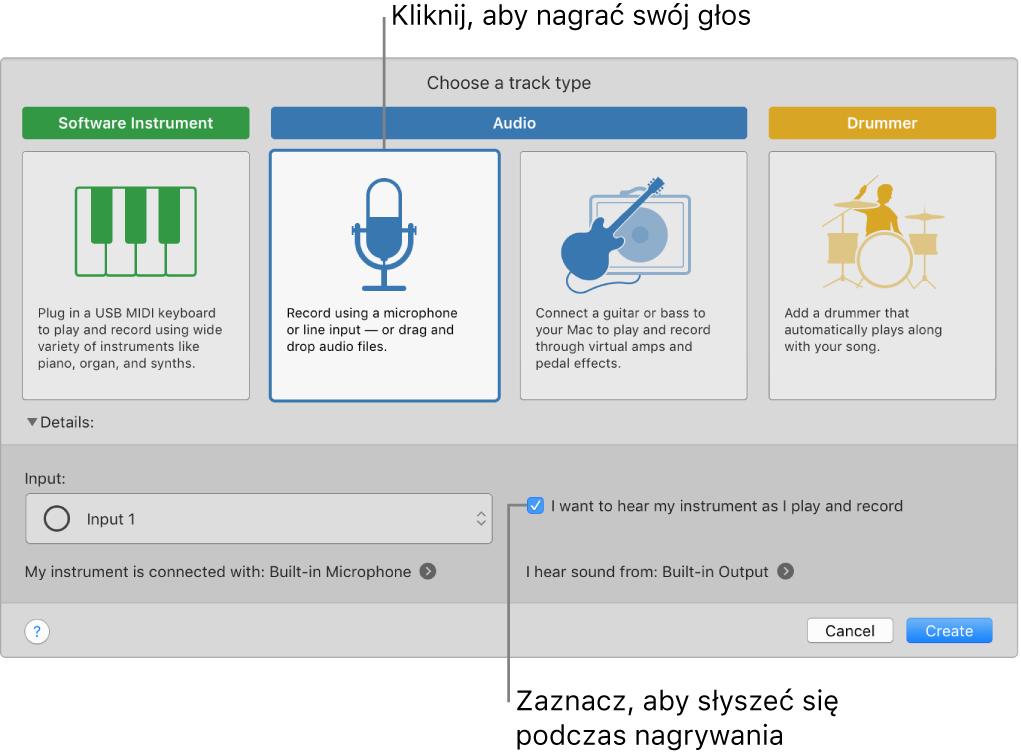 Panel instrumentów waplikacji GarageBand zopisami opcji narywania głosu oraz opcji pozwalającej słyszeć siebie podczas nagrywania.