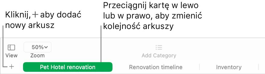 Okno aplikacji Numbers zopisami przycisków dodawania nowego arkusza oraz zmiany kolejności arkuszy.