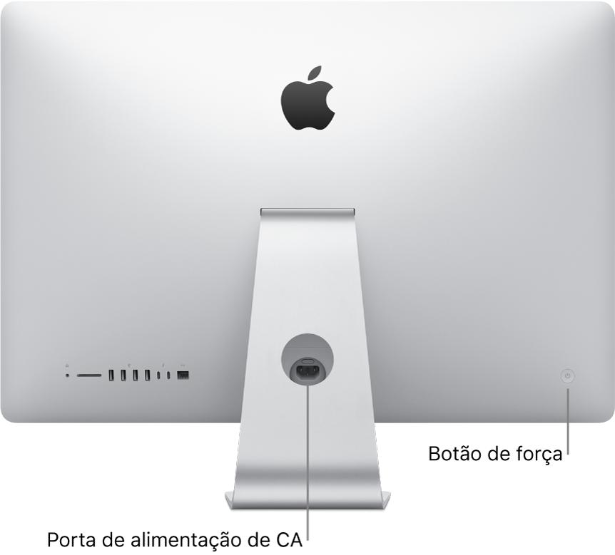 Visualização da parte traseira do iMac mostrando o cabo de alimentação e o botão de força.