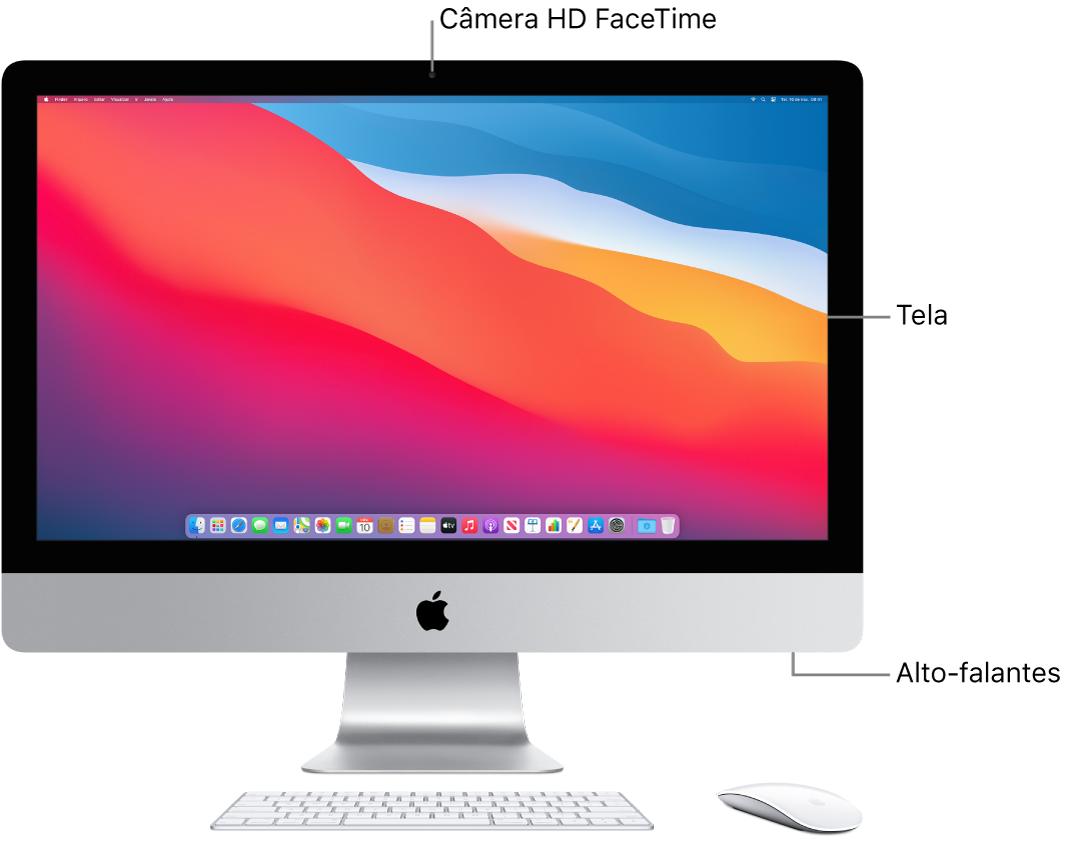 Vista frontal iMac mostrando a tela, câmera e alto-falantes.