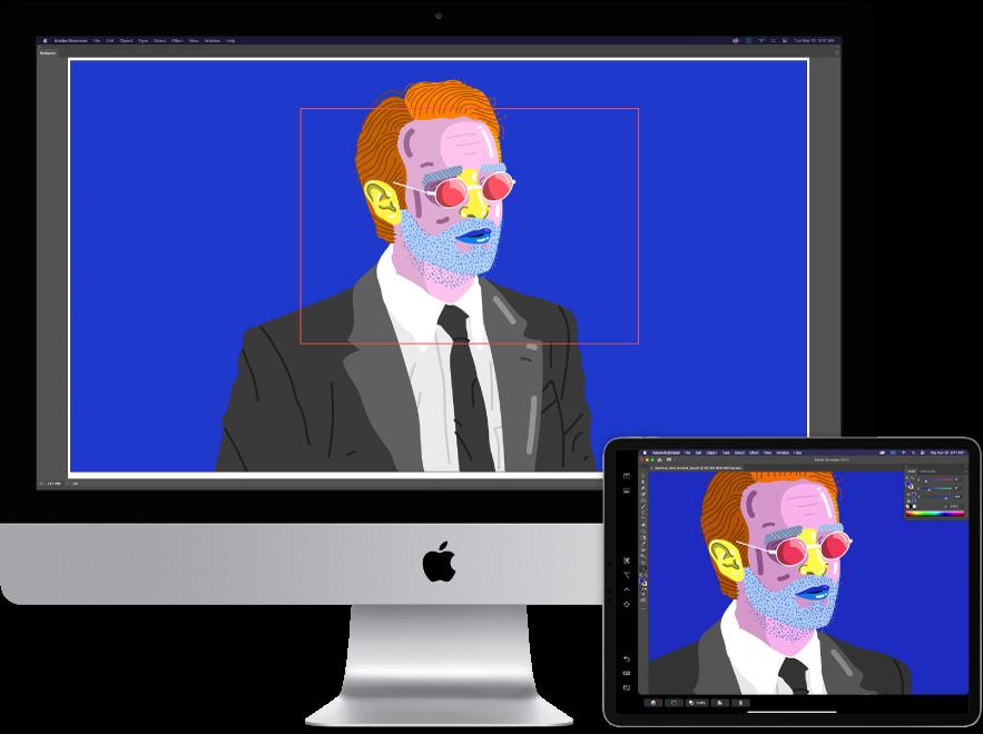 Um iMac e um iPad lado a lado. O iMac mostra uma imagem artística na janela do navegador do Illustrator. O iPad mostra a mesma imagem artística na janela do documento Illustrator, rodeada de barras de ferramentas.