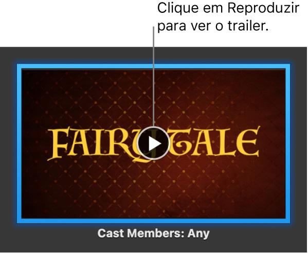 O ecrã com um trailer do iMovie a mostrar o botão Reproduzir.