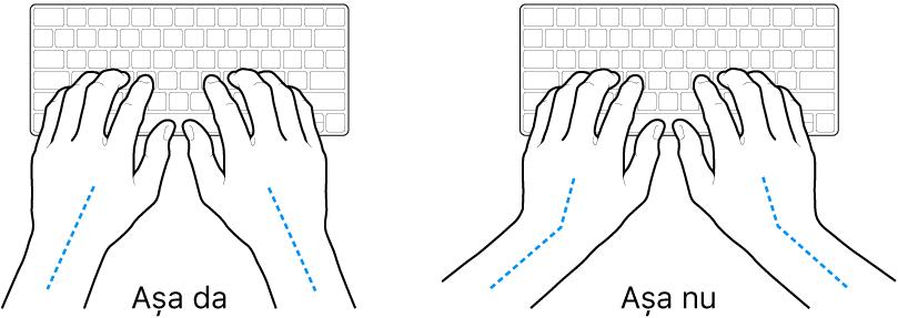 Mâini poziționate deasupra unei tastaturi, indicând alinierea corectă și incorectă a încheieturii și a mâinii.