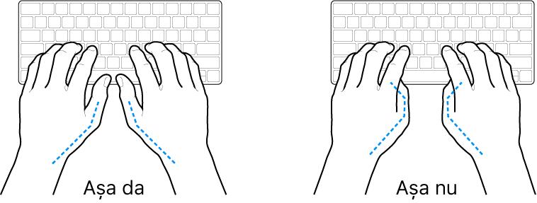 Mâini poziționate deasupra unei tastaturi, indicând alinierea corectă și incorectă a degetelor mari.