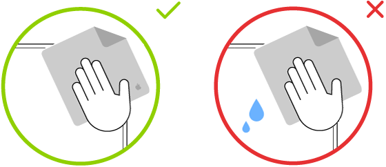 Două imagini care indică o lavetă adecvată și una neadecvată atunci când se șterge un ecran cu sticlă cu textură nano.