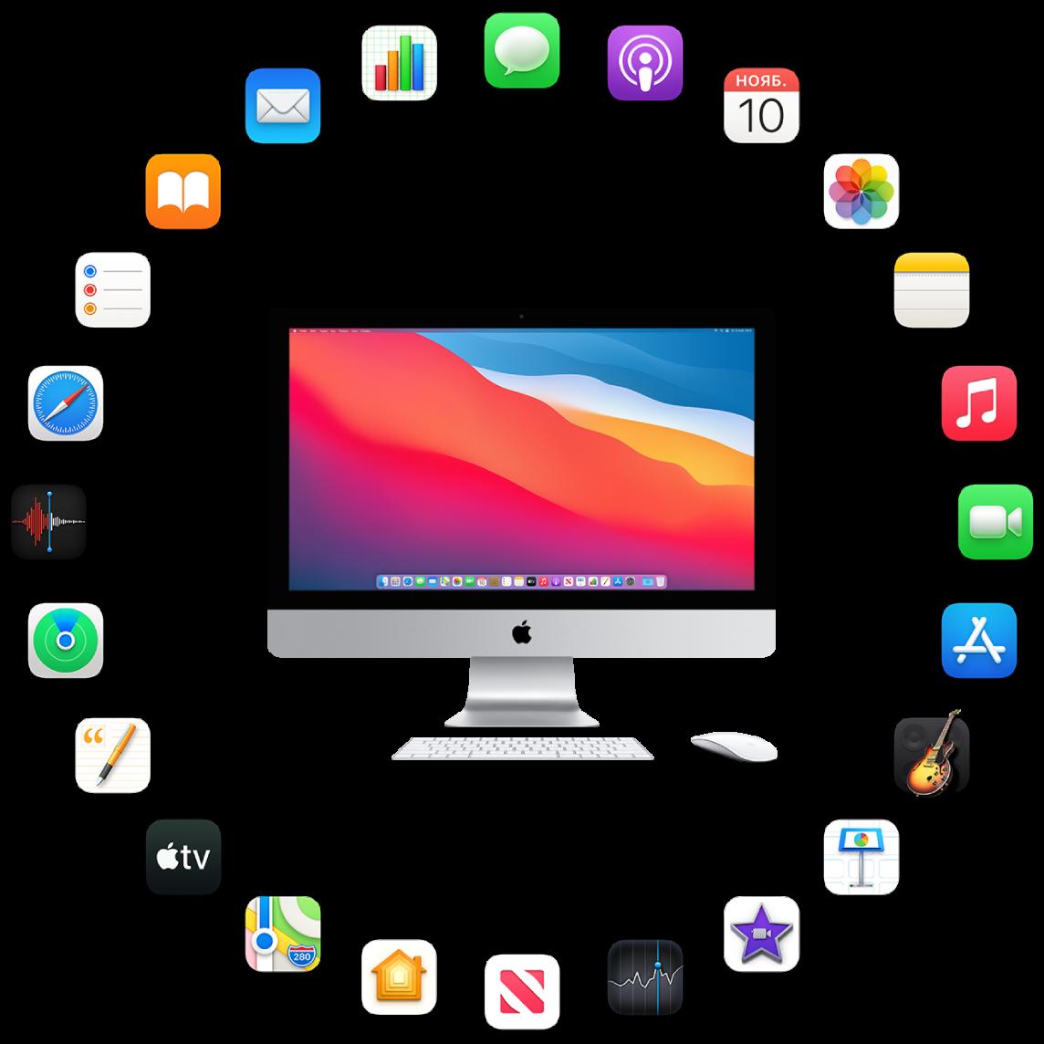 iMac и значки установленных на нем приложений. Они описаны в следующих разделах.