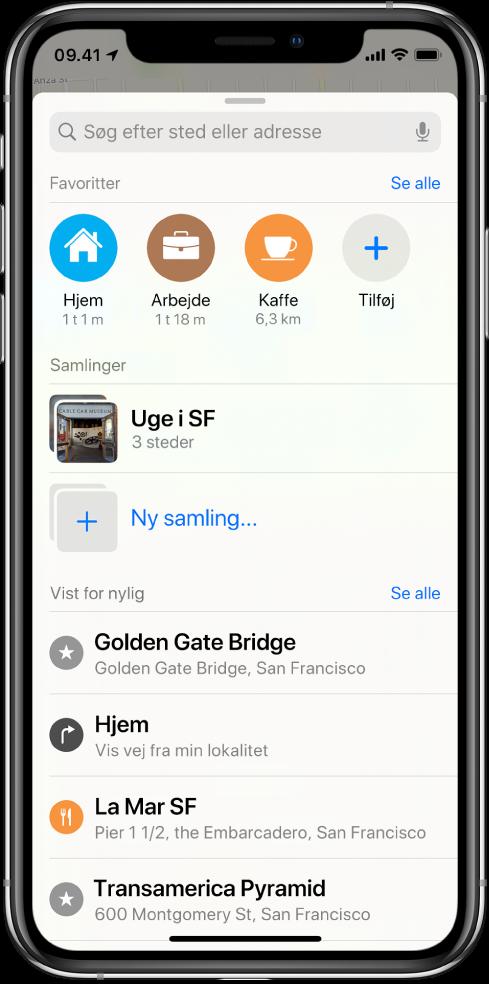 """Søgekortet fylder hele skærmen. Området med samlinger vises under søgefeltet og rækken Favoritter. På listen Samlinger findes en samling med navnet """"Week in SF"""" og muligheden for at oprette en ny samling."""