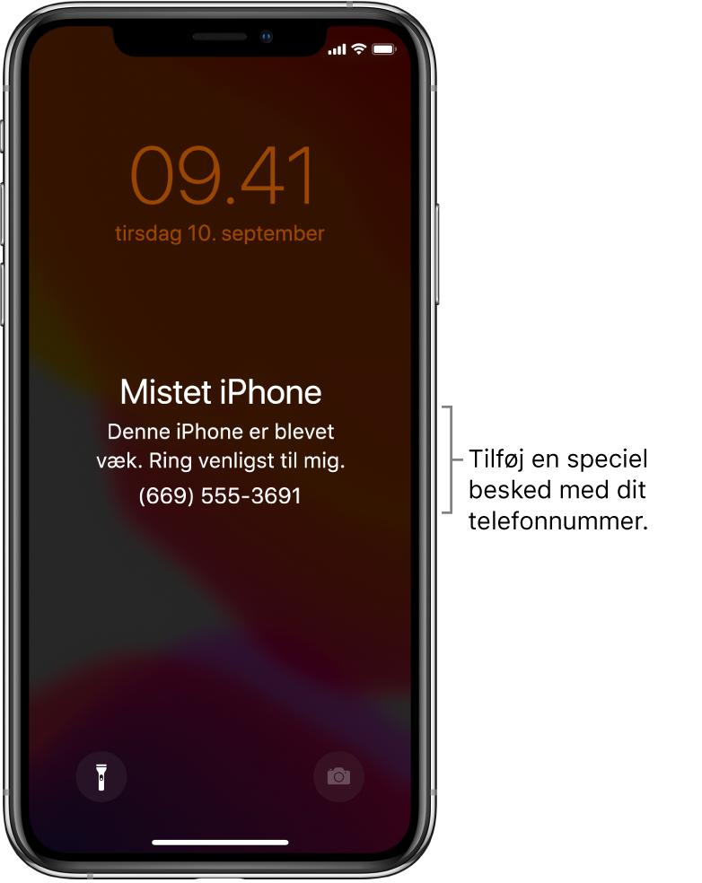 """En iPhones låste skærm med beskeden: """"Mistet iPhone. Denne iPhone er blevet væk. Ring venligst til mig. (669) 555-3691"""". Du kan tilføje din egen besked med dit telefonnummer."""