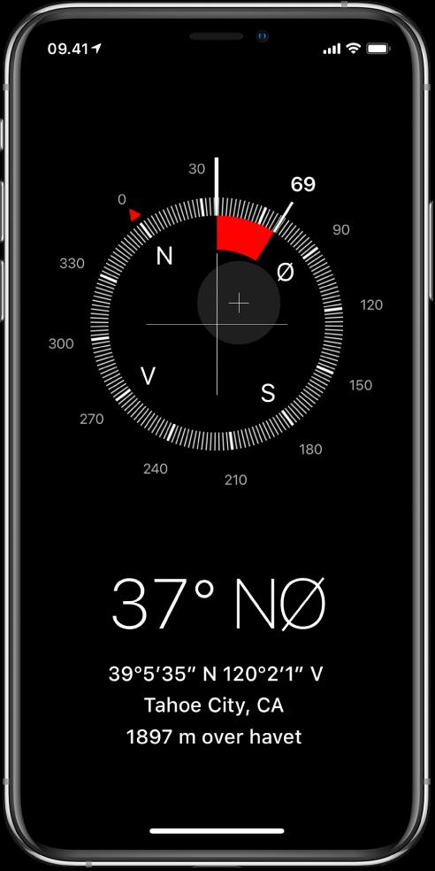 Appen Kompas viser dig, i hvilken retning din iPhone peger, din aktuelle lokalitet og højde.