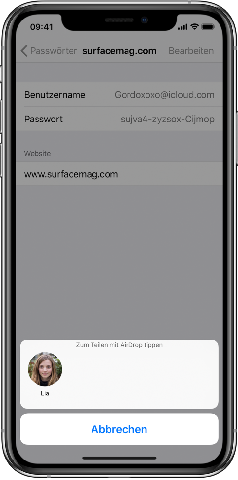 """Der Accountbildschirm für eine Website. Unten auf dem Bildschirm ist die Anweisung """"Zum Teilen mit AirDrop tippen"""" und darunter ein Foto von Lia zu sehen."""