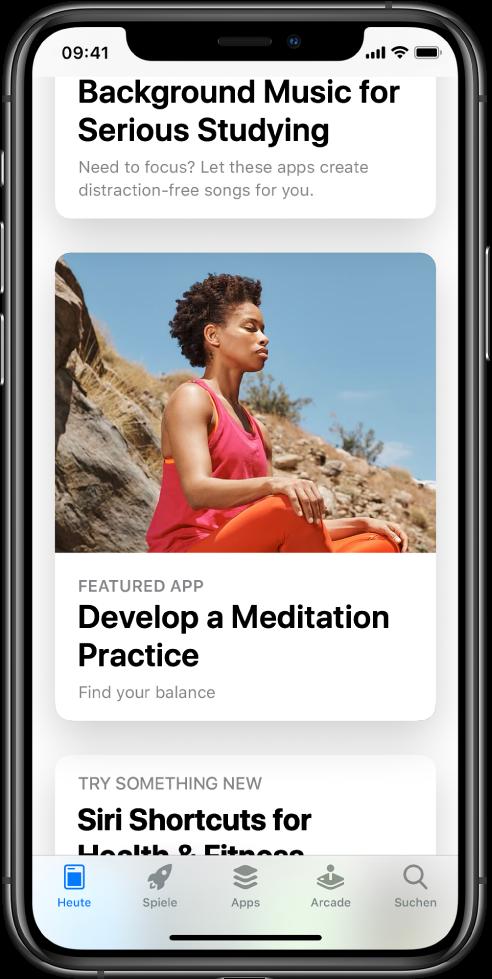 """Im Bildschirm """"App Store"""" ist der Tab """"Heute"""" unten im Bildschirm ausgewählt. In der Mitte des Bildschirms befindet sich eine vorgestellte App namens """"Develop a Meditation Practice""""."""