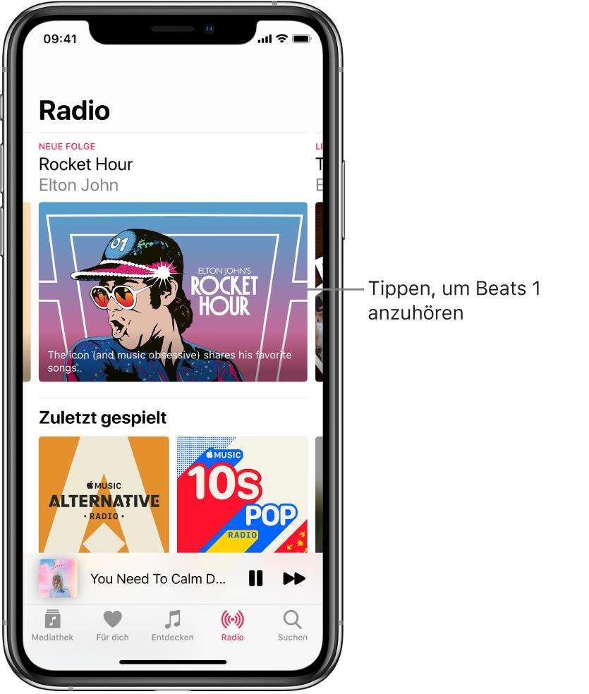"""Auf dem Bildschirm """"Radio"""" wird oben """"Beats1 Radio"""" angezeigt. Kürzlich gespielte Titel sind darunter zu sehen."""