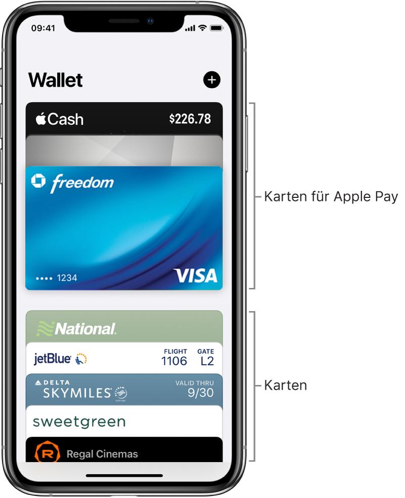 """Der Bildschirm """"Wallet"""" mit verschiedenen Kredit- und Debitkarten und sonstigen Karten."""