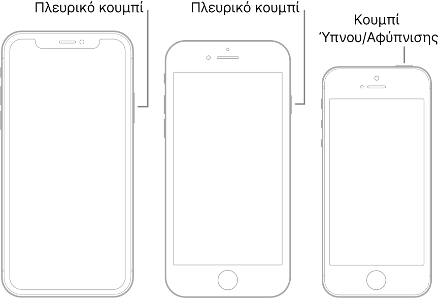 Το πλευρικό κουμπί ή το κουμπί Ύπνου/Αφύπνισης σε τρία διαφορετικά μοντέλα iPhone.