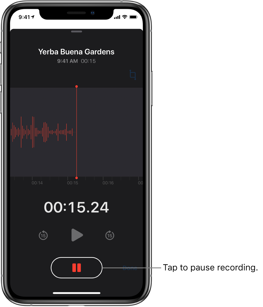 The Voice Memos screen showing a recording in progress, with an active Pause button and dimmed controls for playing, skipping forward 15 seconds, and skipping backward 15 seconds. The main part of the screen shows the waveform of the recording that's in progress, along with a time indicator.