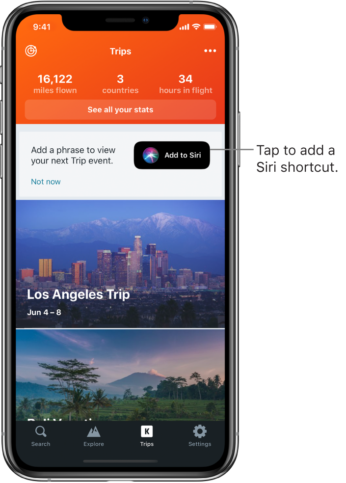 """The screen of a travel app. The Add to Siri button is to the right of text reading """"Add a phrase to view your next trip event."""""""