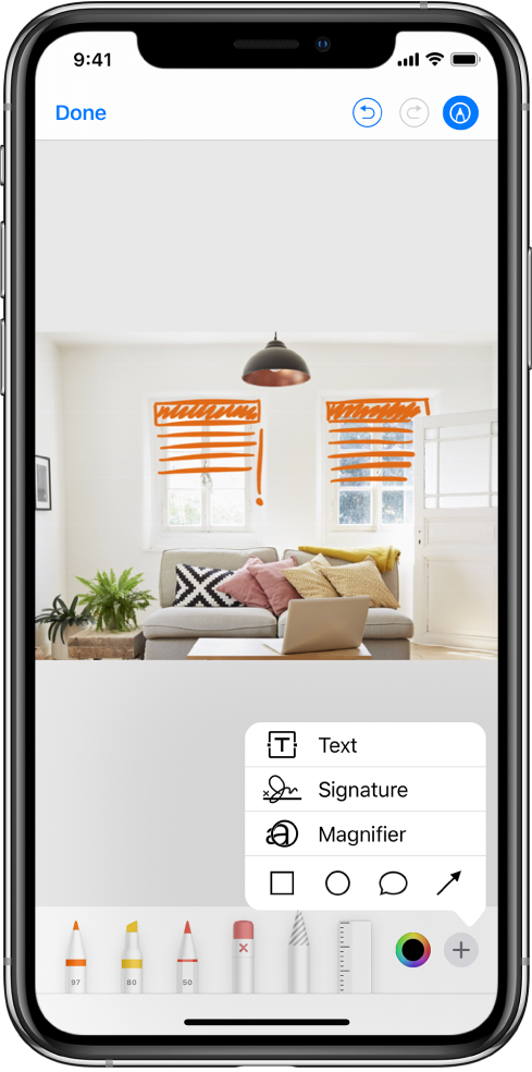 A photo is marked up with orange lines to indicate window blinds over windows. Drawing tools and the color picker appear at the bottom of the screen. A menu with choices for adding text, a signature, a magnifier, and shapes appears in the lower-right corner.