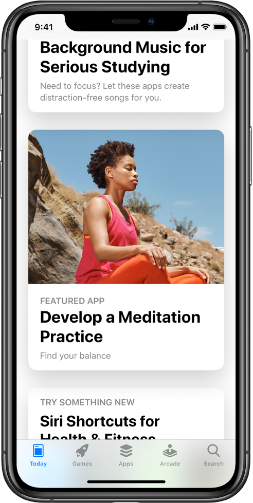 """The App Store screen with the Today tab selected at the bottom of the screen. In the middle of the screen is a featured app titled, """"Develop a Meditation Practice."""""""