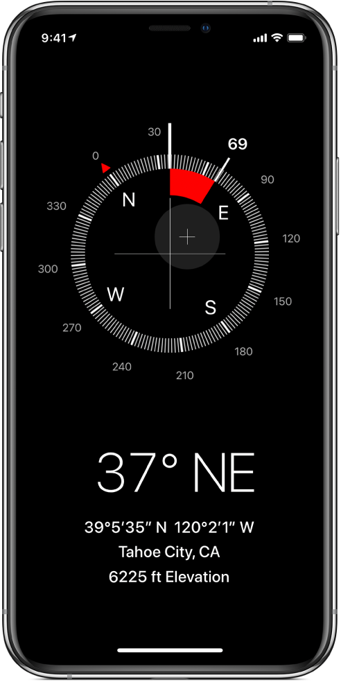 The Compass screen showing the direction iPhone is pointing, your current location, and elevation.
