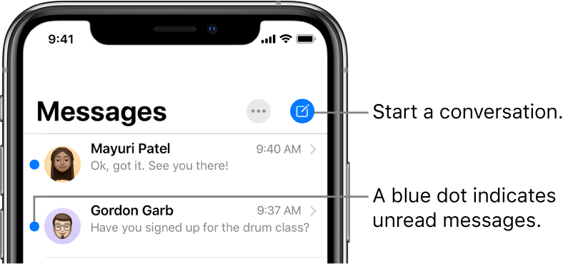 The Messages list, with the Edit button at the top left and the Compose button at the top right. A blue dot to the left of a message indicates it's unread.