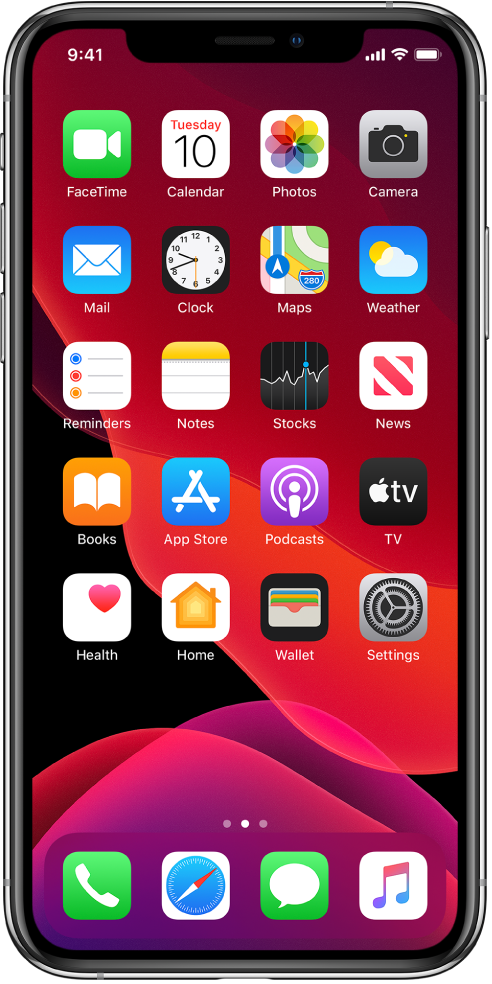 The iPhone Home screen in Dark Mode.