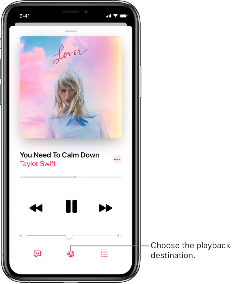 The playback controls on the Now Playing screen for Music, including the Playback Destination button at the bottom of the screen.