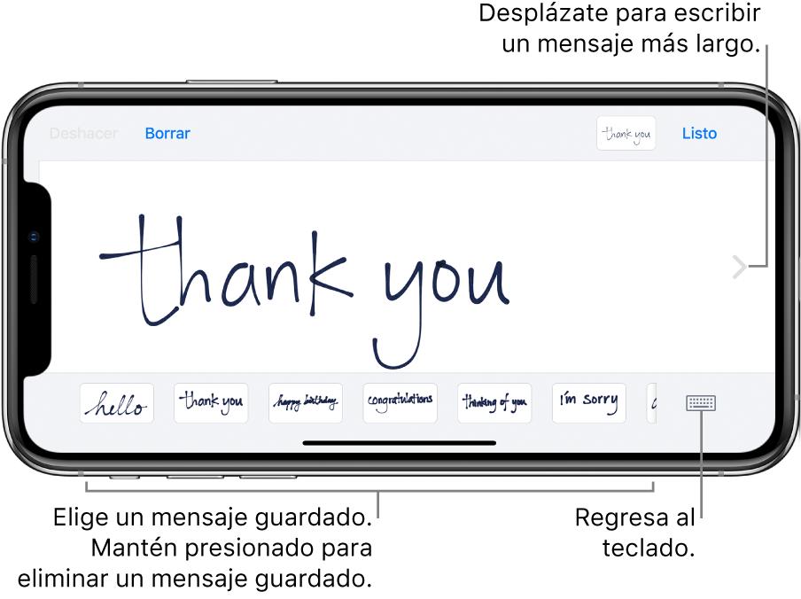 """La pantalla de mensaje a mano con un mensaje escrito a mano. En la parte inferior, de izquierda a derecha, se encuentran mensajes guardados y el botón """"Mostrar teclado""""."""
