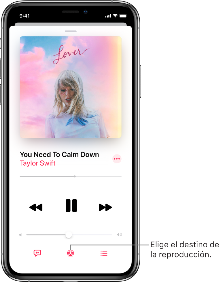 """Los controles de reproducción en la pantalla """"Ahora suena"""" de Música, incluyendo el botón """"Destino de la reproducción"""" en la parte inferior de la pantalla."""