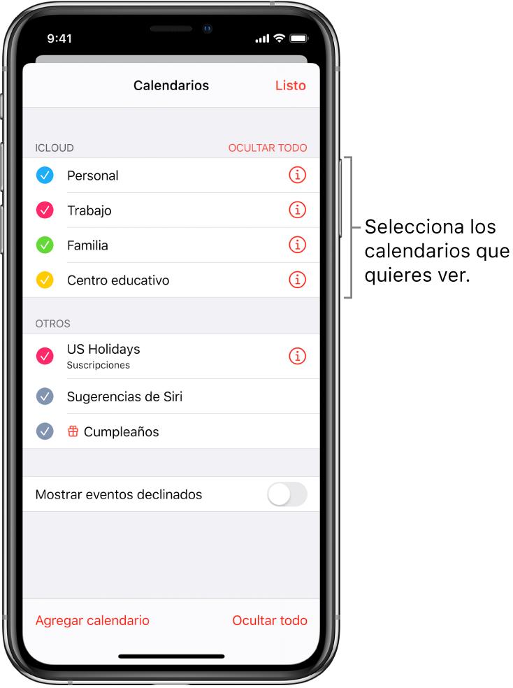 La lista de calendarios indica qué calendarios están activos mediante una marca de verificación. El botón OK para cerrar la lista en la esquina superior derecha.