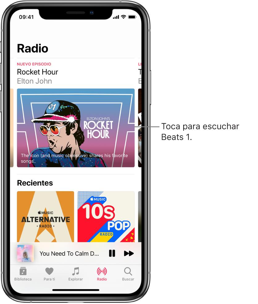 La pantalla Radio mostrando la radio Beats 1 en la parte superior. Las entradas reproducidas recientemente se muestran debajo.