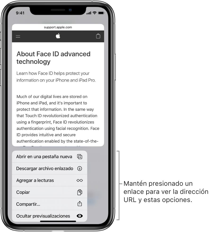 Una pantalla superpuesta mostrando una vista previa del destino de la dirección URL seguida de una lista de posibles acciones: Abrir, Agregar a lecturas, Agregar a fotos, Copiar y Compartir.