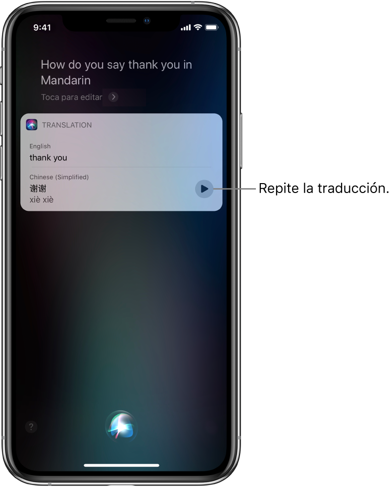 """En respuesta a la pregunta """"Oye Siri, ¿cómo se dice """"gracias"""" en mandarín?"""", Siri muestra una traducción de la frase en inglés """"gracias"""" en mandarín. En la parte inferior a la derecha de la traducción se encuentra un botón que vuelve a reproducir la traducción."""