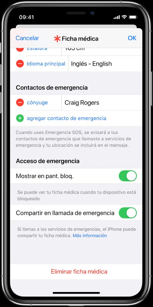 Pantalla de ficha médica. En la parte inferior se encuentran opciones para mostrar la información de la ficha médica cuando la pantalla del iPhone está bloqueada y cuando realizas una llamada a los servicios de emergencia.
