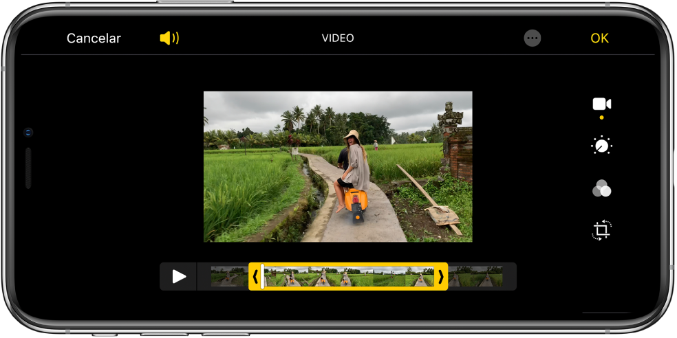 Un video con el visualizador de cuadros en la parte inferior. Los botones Cancelar y Reproducir están en la parte inferior izquierda y el botón OK en la parte inferior derecha.