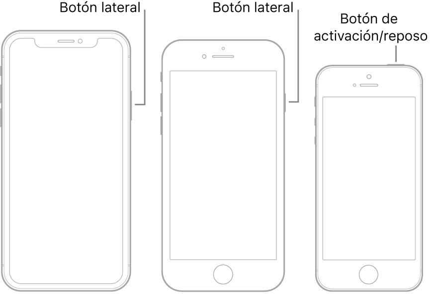 Una ilustración que muestra la ubicación del botón de activación/reposo y el botón lateral en el iPhone.