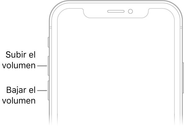 El área superior del frente del iPhone con los botones para subir y bajar volumen en la parte superior izquierda.