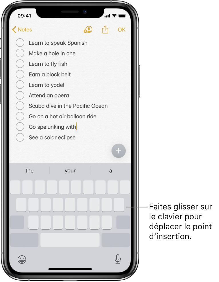 Une note en cours de modification après que le clavier a été converti en trackpad. Le clavier est grisé pour montrer qu'il fonctionne désormais comme un trackpad.