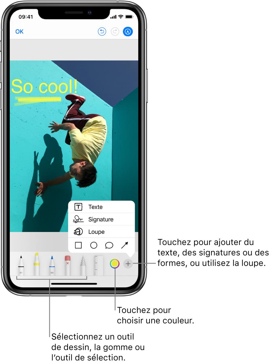 Une image dans une fenêtre d'annotation. Sous l'image, de gauche à droite, se trouvent les boutons permettant d'utiliser les outils d'annotation: des stylos pour dessiner, une gomme, un outil de sélection, des couleurs et des boutons permettant d'ajouter une zone de texte, votre signature et des formes, puis un autre pour sélectionner la loupe.