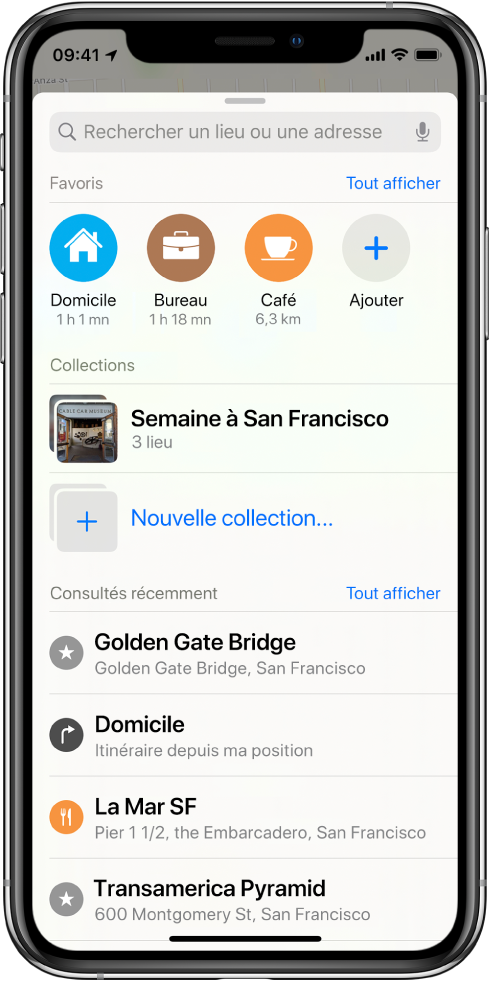 La carte de recherche remplit l'écran. La section de Collections s'affiche sous le champ de recherche et la ligne Favoris. Dans la liste Collections se trouve une collection appelée «Semaine à San Francisco», et une option pour la création d'une nouvelle collection.
