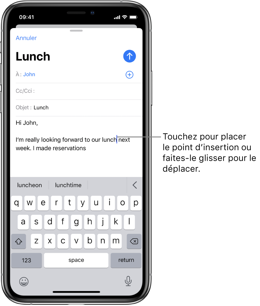Un brouillon d'e-mail montrant le point d'insertion placé à l'endroit où le texte doit être inséré.
