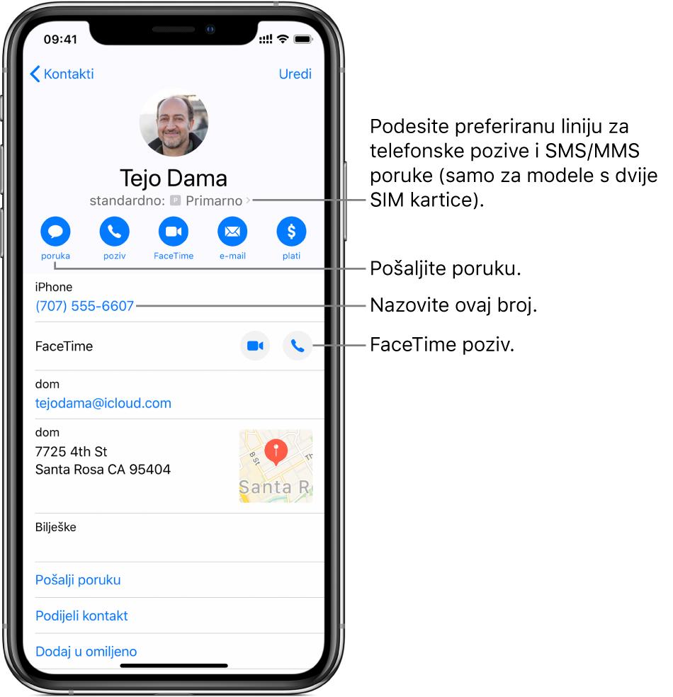 Info zaslon za kontakt. Pri vrhu se nalazi fotografija i ime kontakta. Ispod su tipke za slanje poruka, upućivanje telefonskih poziva, upućivanje FaceTime poziva, slanje e-mail poruka i slanje novca značajkom Apple Pay. Ispod tipki nalaze se kontaktne informacije.