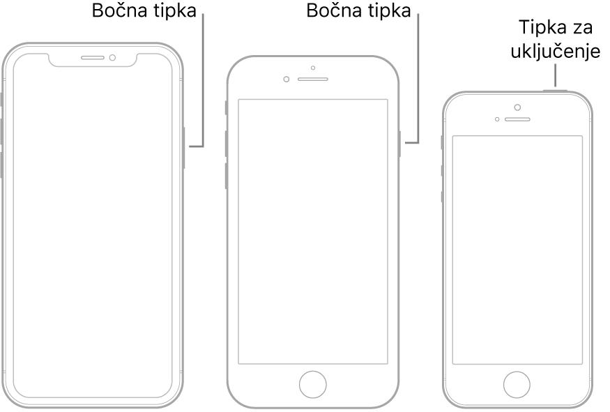 Slika koja prikazuje lokacije bočnih tipki i tipki za pripravno stanje/uključenje na iPhone uređaju.
