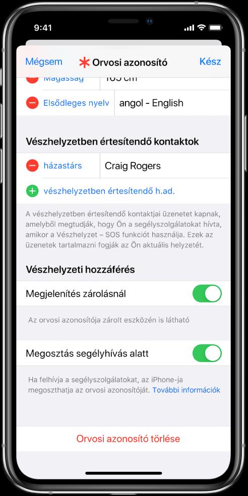Az orvosi azonosító képernyője. A képernyő alján lévő opciók segítségével megjelenítheti az orvosi azonosítójához hozzáadott információkat, amikor az iPhone zárolva van, illetve amikor segélyhívást indít.