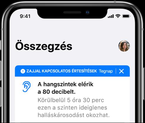 Az Összegzés képernyő egy profilképpel a jobb felső sarokban.