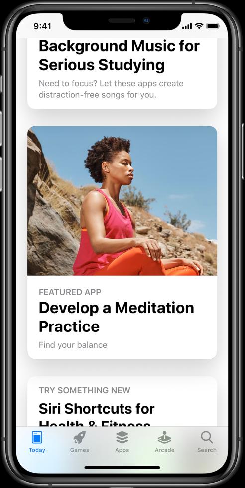 """""""AppStore"""" ekranas su ekrano apačioje pasirinktu skirtuku """"Today"""". Ekrano viduryje pateikiama programa pavadinimu """"Develop a Meditation Practice""""."""