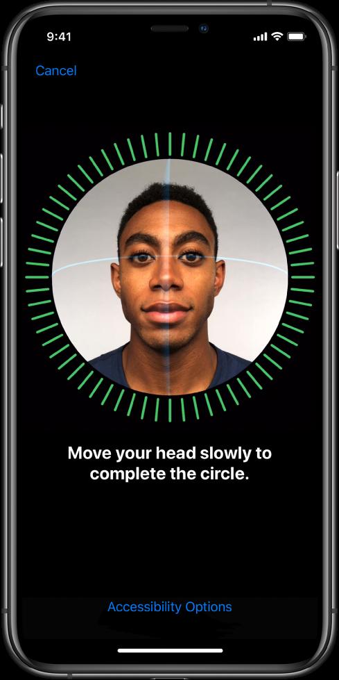 """Ekranas, rodantis """"Face ID"""" sąrankos procesą."""